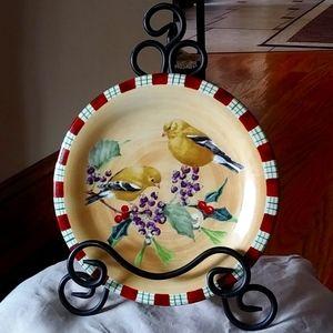 Beautiful Lenox bird plate with iron stand